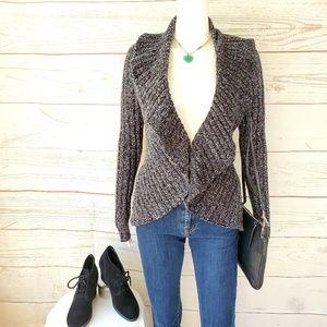 Express chunky knit marled yarn cardigan